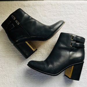 Gold Accented Calvin Klein Leather Booties
